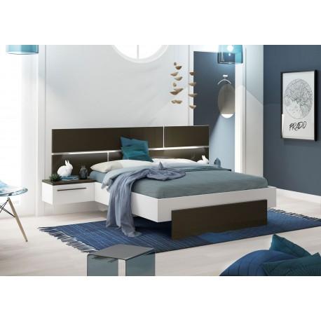 lit 140x190 cm blanc et gris anthracite laque avec chevets suspendus cbc meubles