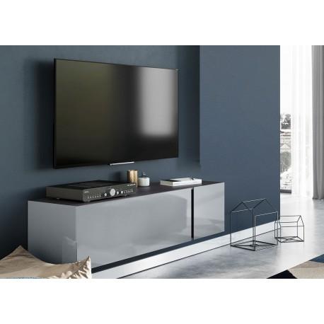 meuble tv moderne 140 cm verre gris cbc meubles