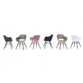 lot de 4 chaises style retro coque pvc et pieds noir