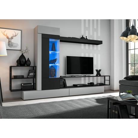 meuble tv gris et noir 3m a led cbc meubles