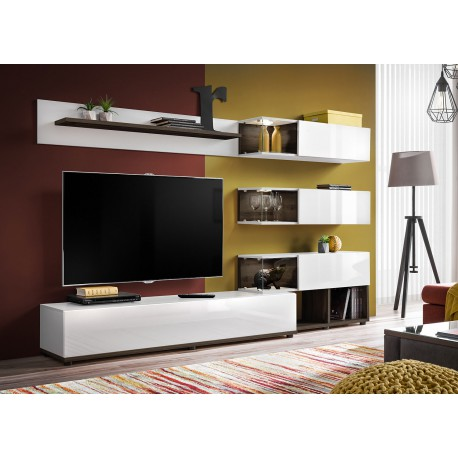 meuble tv design mural blanc et marron fonce