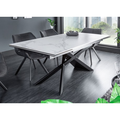 table a manger extensible ceramique 180 260 cm aspect marbre cbc meubles