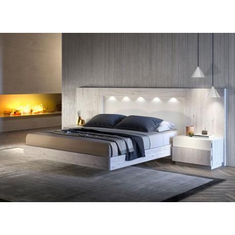 lit adulte avec tete de lit led et chevets frene et blanc cbc meubles