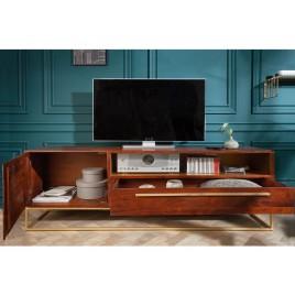 meuble tv bois d acacia marron et metal dore 165 cm