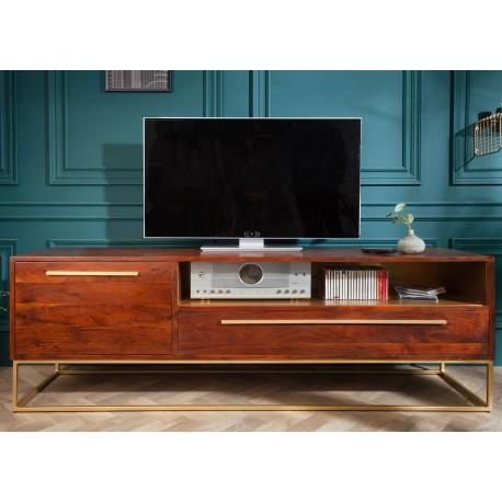 meuble tv bois d acacia marron et metal dore 165 cm cbc meubles