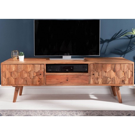 meuble tv en bois massif d acacia a motifs mosaique 140 cm