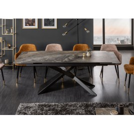 table a manger extensible 180 220 260 cm ceramique taupe aspect marbre