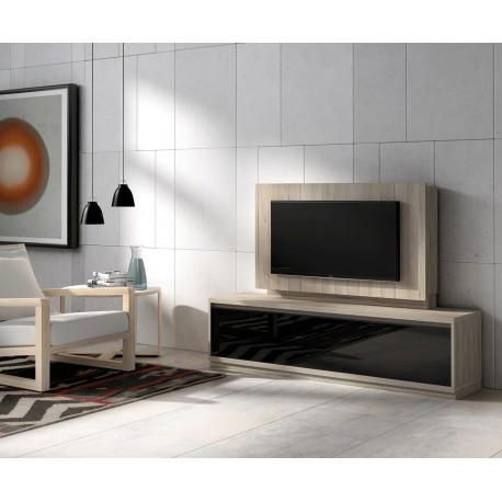 meuble tv bois orme et panneau tv k41