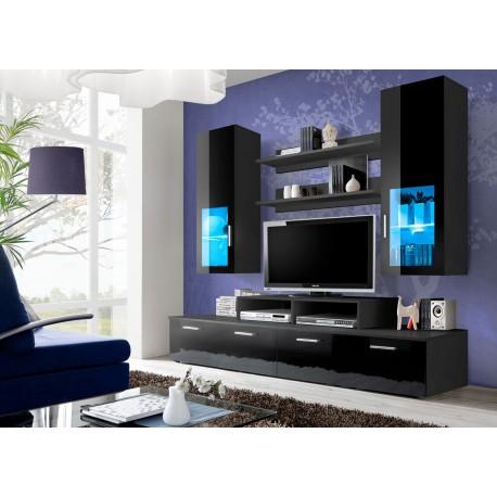 meuble tv led noir laque marty cbc meubles