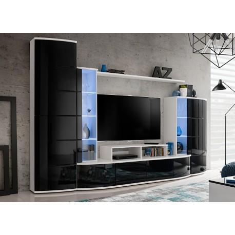 meuble tv blanc et noir laque lumineux anton cbc meubles