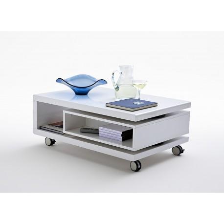 table basse blanc laque sur roulettes cbc meubles