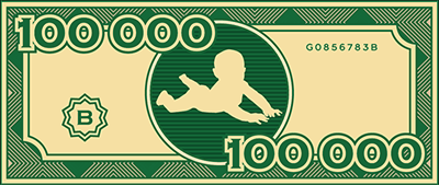 fake $100,000 with baby in center
