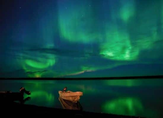 Northern Lights and boat