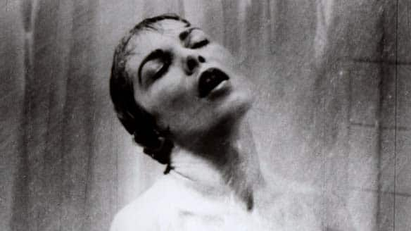 Janet Leigh in the shower scene in Alfred Hitchcock's 1960 classic thriller Psycho: The movie's suspenseful score is up for sale.