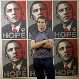 Shepard Fairey, who may have destroyed his own fair use case by lying and covering up his appropriation of a photograph (Courtesy: CBC)