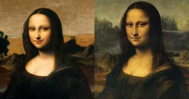 The Isleworth Mona Lisa on the left, the Louvre's Mona Lisa on the right. A Swiss foundation says the Isleworth Mona Lisa is an earlier version of the painting by Leonardo.