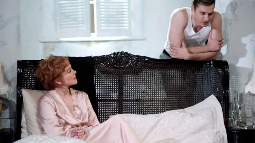 Kim Cattrall and Seth Numrich in Sweet Bird of Youth on stage in London's West End.<br /><br />