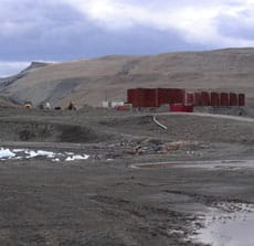 Fuel tank storage facility at the Nanisivik port.