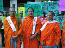 Buddhist monks joined a peaceful protest in the Thai border city of Mae Sot on Sunday.