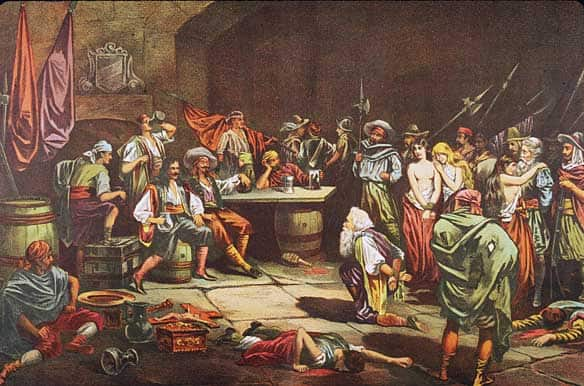 A captive bows before Welsh pirate Sir Henry Morgan as Morgan and his men sack the city of Panama in the 1670s. (Hulton Archive/Getty Images)  Read more: http://www.cbc.ca/world/story/2008/11/21/f-pirates-whoswho.html#ixzz0stPqRYn3