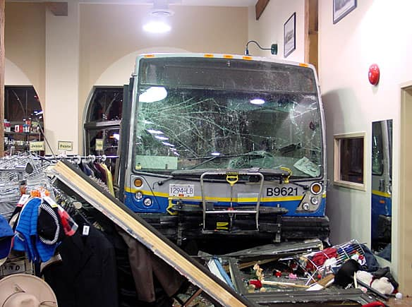 A Coast Mountain bus crashed through the front windows of the New Westminster Salvation Army Thrift Store early Wednesday.  (The Salvation Army)