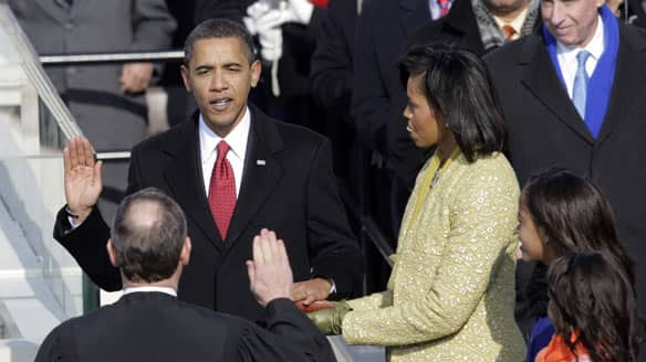 Obama taking the presidential oath!