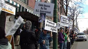 Supporters of the Baynes hold a weekly protest at B.C. Premier Gordon Campbell's Vancouver constituency office.