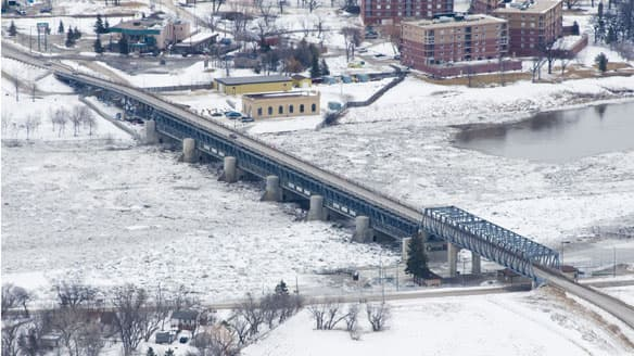 Lockport Bridge Ice jam