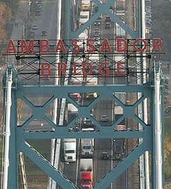 Aerial view of the Ambassador Bridge