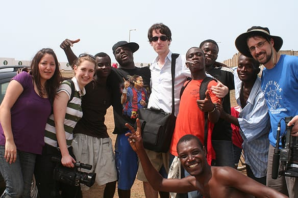 UBC graduate journalism students Heba Elasaad (far left), Krysia Collyer (second from left), Blake Sifton (centre) and professor Dan McKinney (far right) spent 10 days in February in Ghana shooting a documentary on e-waste.