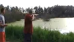 The men were seen in a YouTube video shooting at ducklings in a  pond.