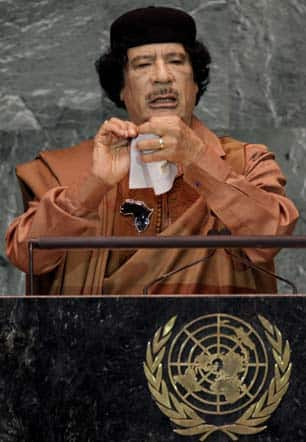 Libyan Leader Moammar Gadhafi at the United Nations in New York City in September 2009.