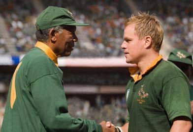 In Invictus, Morgan Freeman portrays Nelson Mandela and Matt Damon plays rugby champ Francois Pienaar in post-apartheid South Africa. Accent-wise, Damon nails it. (Keith Bernstein/Warner Bros./Associated Press)