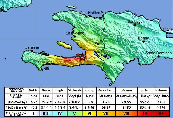 This image released by the U.S. Geological Survey shows a shake map of the Haiti area, prepared Tuesday.