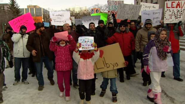 Libyan Winnipeggers rallied on the steps of the Manitoba legislature on Monday.