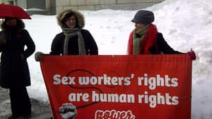 Supporters of sex-trade workers gathered outside the Supreme Court in Ottawa Thursday after a hearing where grounds for a constitutional challenge to prostitution laws were argued.