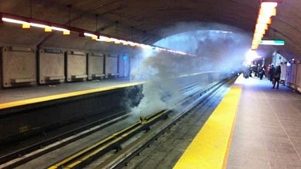 Smoke filled the Préfontaine metro stop, one of three stations targeted Thursday morning.