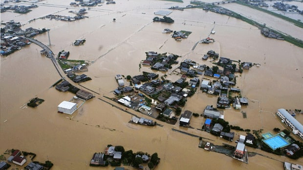 At least 20 have died in collapsed buildings or mudslides due to torrential rains in the  Fukuoka prefecture of southwestern Japane.