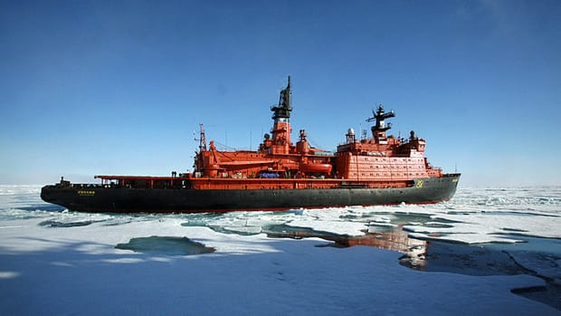 A Rossiya nuclear icebreaker navigates back from the North Pole after providing support to a Russian minisubmarine mission to the Arctic Ocean floor in August 2007. Two small Russian submarines went to the floor of the Arctic Ocean in support of Kremlin efforts to claim the energy wealth beneath the region and rebuild Russia's status as a great power.