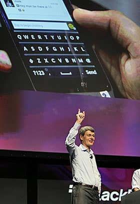 RIM CEO Thorstein Heins shows off some of the early features of the BlackBerry 10 at a trade show in San Jose,Calif., in September.