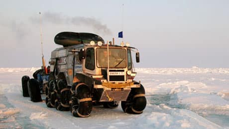 A group of Russian explorers left Russia in February to drive to the North Pole and then on to Resolute, Nunavut, in specialized amphibious trucks. The group says the trucks are designed to minimize damage to the tundra and ice in the Arctic.
