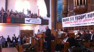Former British MP George Galloway began a speaking tour in Canada at Trinity-St. Paul's United Church in Toronto on Sunday.