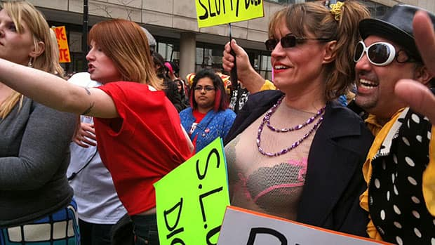 About 1,000 people participated in the Slut Walk on Sunday. (Ivy Cuervo/CBC News)