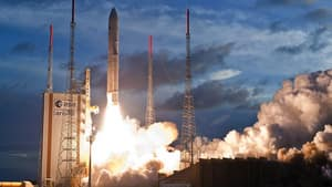 The Ariane V rocket lifts off at the Kourou space base, French Guiana, on July 5, 2012. with a payload that includes Echostar XVII, a satellite that will help provide high speed internet access to rural Canada.