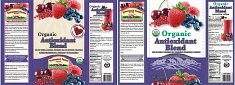 Townsend Farms, Inc. of Fairview, Oregon, initiated a recall of certain lots of its frozen Organic Antioxidant Blend, which was sold under two labels at U.S. Costco stores. Not pictured: Harris Teeter-branded label.
