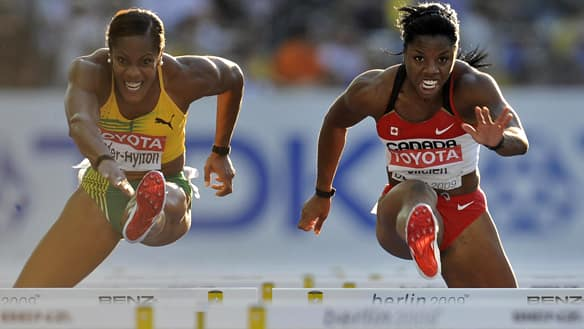 Follow the exploits of Canadians like Perdita Felicien of Pickering, Ont., right, on Championship Track and Field on CBC.