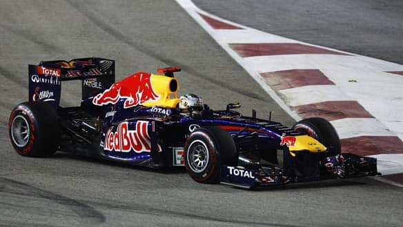 Sebastian Vettel drives during the Singapore Formula One Grand Prix at the Marina Bay Street Circuit.