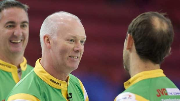 Skip Glenn Howard, left, won his fifth straight match Sunday at the World Cup of Curling event in Sault Ste. Marie, Ont.