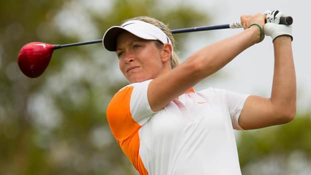 Suzann Pettersen watches her drive off the second tee during the third round of the LPGA Lotte Championship.