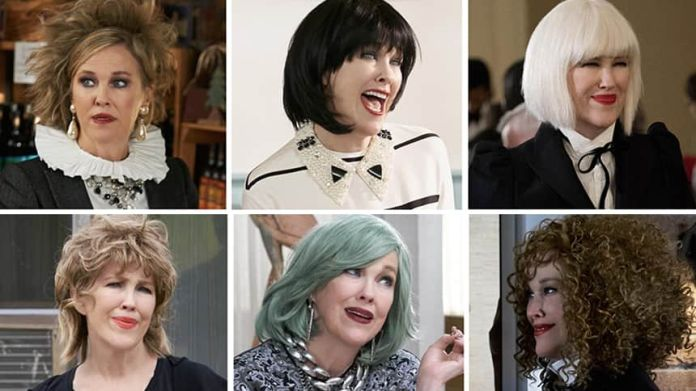 The character Moira Rose represented in six different wigs.